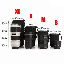 4x Neoprene Protector DSLR Lens Pouch S M L XL Camera Cases Bag Cover With Hook