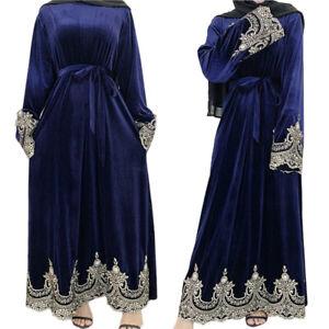 Elegant Women Velvet Robe Muslim Long Sleeve Maxi Dress Ramadan Casual Gown Arab