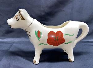 Vintage White Gold Trim Red Flower Ceramic Cow Creamer Made Poconos PA