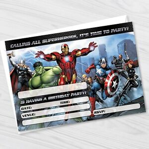 Avengers Birthday Party Invitations - Marvel Avengers Kids Party Invites 2