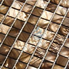 Madre de perla Azulejos de mosaico del lecho del río de la naturaleza de concha de perla Mosaico Cuadrado Marrón