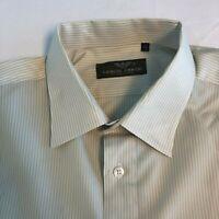 Giorgio Armani Le Collezioni Mens Long Sleeve Button Down Shirt Tan Stripe XL