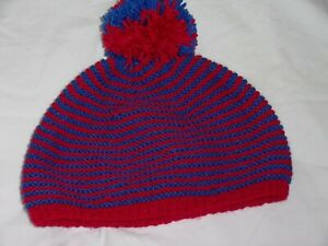 Ladies Hand Knit Red and Blue Striped Beanie Hat with Bobble - BNWOT