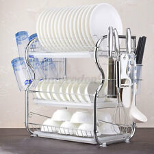 3 Tiers Dish Drying Rack Large Stainless Steel Drainer Cutlery Organizer Holder