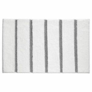 mDesign Soft Microfiber Polyester Rug, Non-Slip Spa Mat/Runner - White/Gray