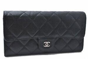 Authentic CHANEL Caviar Skin Matelasse Long Wallet CC Logo Black D0277