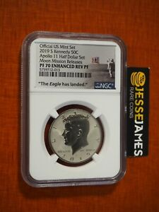 2019 S ENHANCED REVERSE PROOF KENNEDY HALF DOLLAR NGC PF70 MOON MISSION RELEASES
