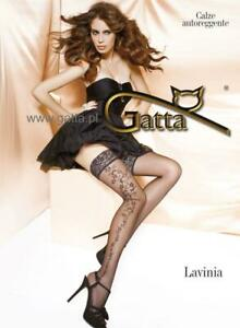 Floral patterned on the side beautiful hold ups with lace - Lavinia 02 by Gatta