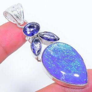 """Purple Triplet Fire Opal, Tanzanite Silver Jewelry Pendant 2.5"""" MK-3306"""