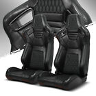 Pairs Main Black Stitching Pvc Leather Leftright Racing Bucket Seat With Slider