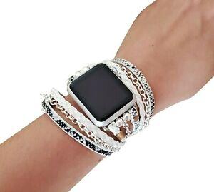 Luxury Apple Watch Band 38 40 42 44mm Silver Chain Boho Chic iWatch Wrap Strap
