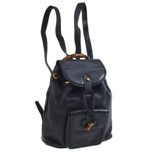 GUCCI Bamboo Line Backpack Hand Bag Purse Black Leather Italy Vintage BT16828d