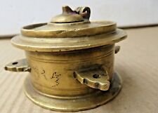 ANTIQUE INKWELL INK POT SOLID BRASS DESK TABLE DIP PEN TOOL COLLECTIBLE INDIA