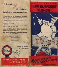 1936 Tydol Trails Map New Hampshire Vermont New England Highway Veedol Motor Oil