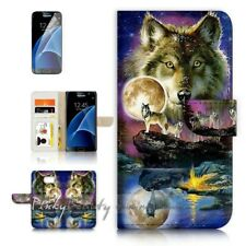 ( For Samsung S7 ) Wallet Case Cover P21448 Wolf