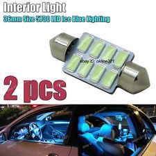 2-pc Aqua Ice Blue Interior inside Map / Dome LED Light DE3425 C5W 36MM Bulb A1