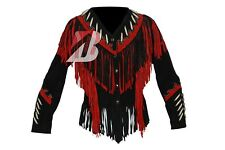 Women's Ladies Handmade Western Suede Leather Jacket with Fringe, Bone & Studs