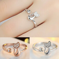 EG_ 1Pc Cubic Zirconia Animal Cute Little Cat Heart Open Ring Fashion Jewelry Ch