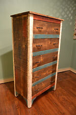 Crafters and Weavers Rustic Solid Wood Highboy Dresser Cabinet Chest of drawers