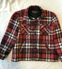 Vintage Sears The Men's Store Red Black White Plaid Flannel Coat Men's Xl