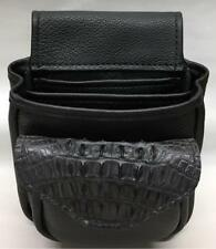 CROCODILE & LEATHER SHOTGUN SHELL POUCH Skeet Sporting Clay HORNBACK BLK DELUXE