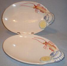 2 Vietri Italy Ceramic Nordstrom Red Lobster Shrimp Shell Oval Plate Platter