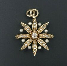 Vintage 14k Yellow Gold Diamond Seed Pearl Sunburst Pin Brooch Pendant OG278