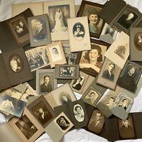 Vintage/Antique Cabinet Card Trifold Photograph Lot Men Women Children 30 +