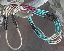 7 Strand Navajo Indian, Handmade Turquoise Pipe Stone & Heishi necklace 28""