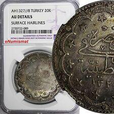 TURKEY Muhammad V Silver AH1327//8 20 Kurush NGC AU DETAILS BETTER DATE KM# 780