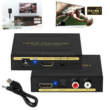 1080p HDMI to HDMI Converter SPDIF RCA Analog Audio Splitter Adapter USB Cable