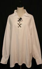 BROADSWORD ~ Mens White Cosplay Shirt w Neck Lacing Pirate Medieval Costume L