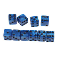10Pcs 16mm/0.63inch D6 Dice Acrylic Six Sided Spotted for MTG DND TRPG Blue