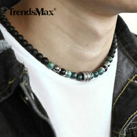 Natural Tiger Eyes Jasper Beaded Necklace for Men Women Stainless Steel Charm