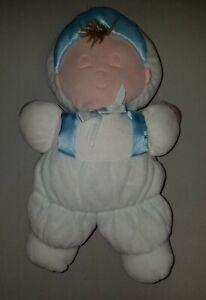 """Rare Vintage Eden Boy Doll Plush 11"""" Terrycloth Sleeping Blue White"""