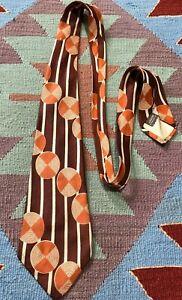 VTG 40s 50s Swing Tie 100% Silk Arrow Rockabilly Atomic Geometric  Circles