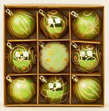9 X Vert Décoré Sapin de Noël Boules Décorations Mélange Finition