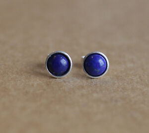 925 Sterling silver stud earrings with 6mm natural Lapis Lazuli gemstones