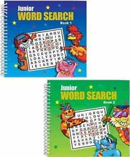 SET 2 JUNIOR WORDSEARCH BOOKS 145mm x 135mm WIRO BOUND POCKET TRAVEL SERIES 3240