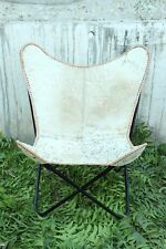100% Genuine Leather Hair on Hide Butterfly Chair Modern Vintage Arm Chair BKF