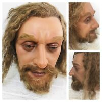 Life Size Wax Man Head Realistic Prop Display 1:1 Vtg Glass Eyes Real Hair  j1