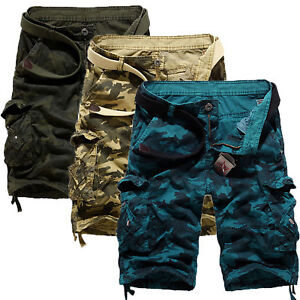 Camouflage Mens Cargo Pants Shorts Trousers Casual Military Workout Bottoms Army