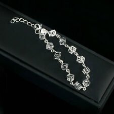Women Girls Silver Charm Cube Crystal Chain Bracelet Bangle Jewelry Gift