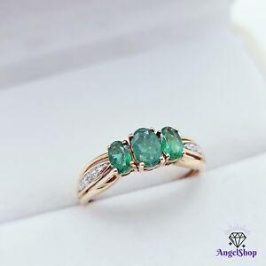 9ct Gold Ring Natural Emerald Diamond Dress Ring Size O - 7.5