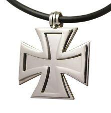 Herren Halskette Edelstahl Anhänger Kreuz Silber 2in1 mit Gummi Halsband schwarz