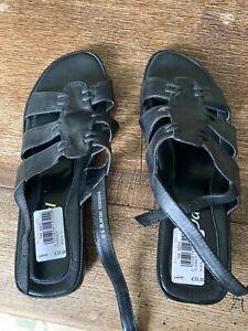 Black leather strappy slingback sandals Van Dal size 3 unworn
