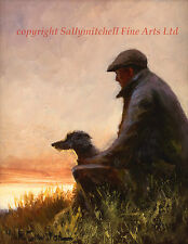 Mick Cawston open editon print One Man and his Dog, Lurcher, poaching,