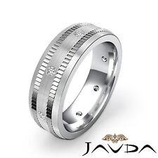 Diamond Mens Eternity Wedding Band 14k White Gold Center Matt Solid Ring 0.16Ct
