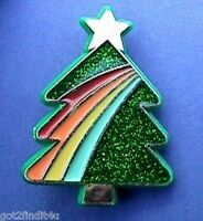 Hallmark PIN Christmas Vintage TREE RAINBOW Glitter Holiday Brooch