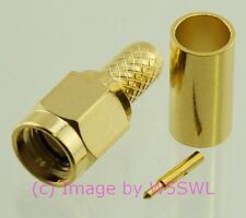 SMA Male Crimp Connector RG-58 LMR195 GOLD  - by W5SWL ®